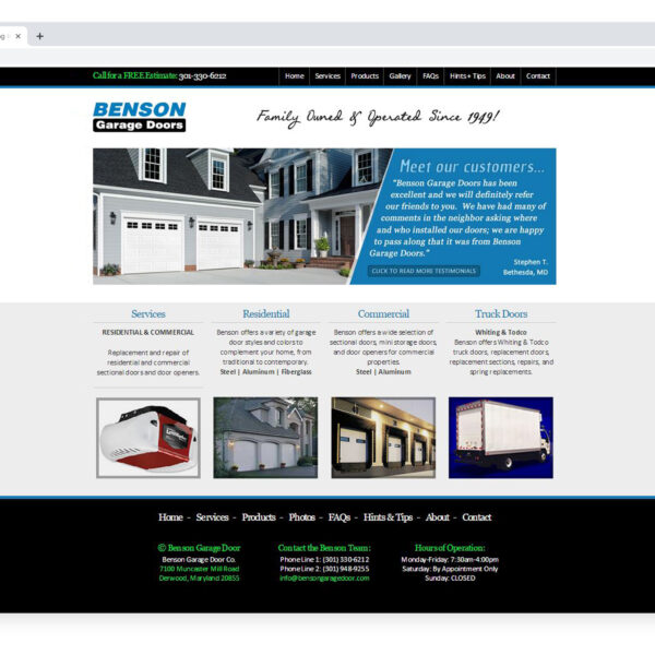 Benson Garage Door Custom Website Designed and Developed by Website GURL