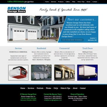 Benson Garage Doors Website