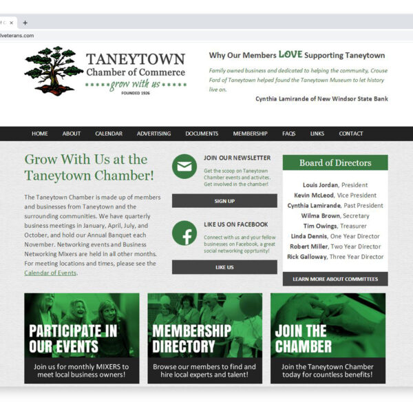 Taneytown Chamber of Commerce Custom Website Designed and Developed by Website GURL