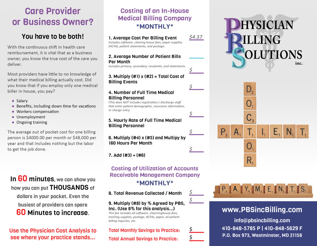 Physician Billing Solutions Brochure designed by Kelly Heck of Website GURL | Westminster, Maryland