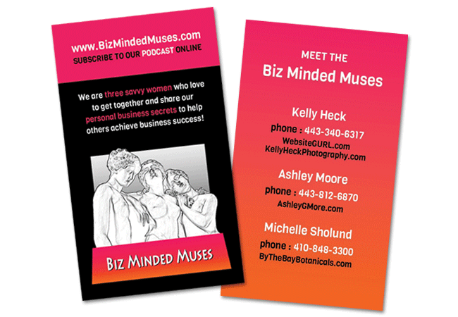 Biz Minded Muses Podcast Custom Business Card Design by Website GURL