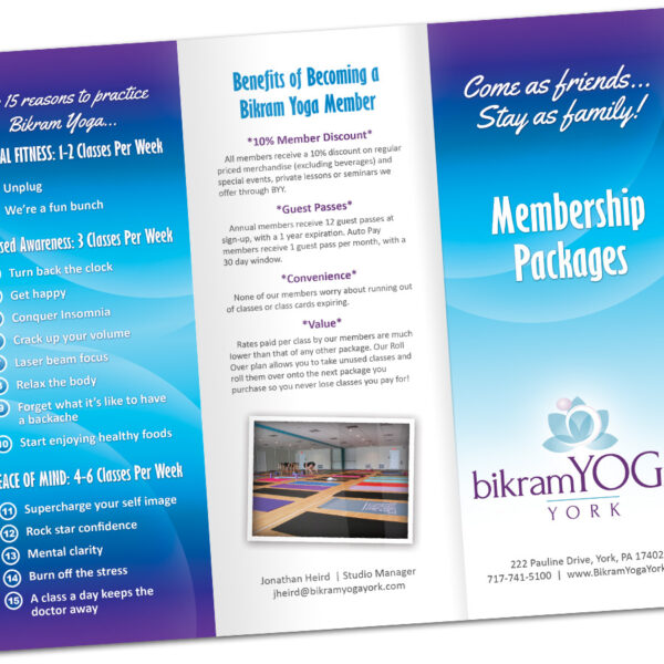 Bikram Yoga Studio Custom Brochure Design by Website GURL
