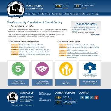 Community Foundation of Carroll County – Custom Designed Responsive Website