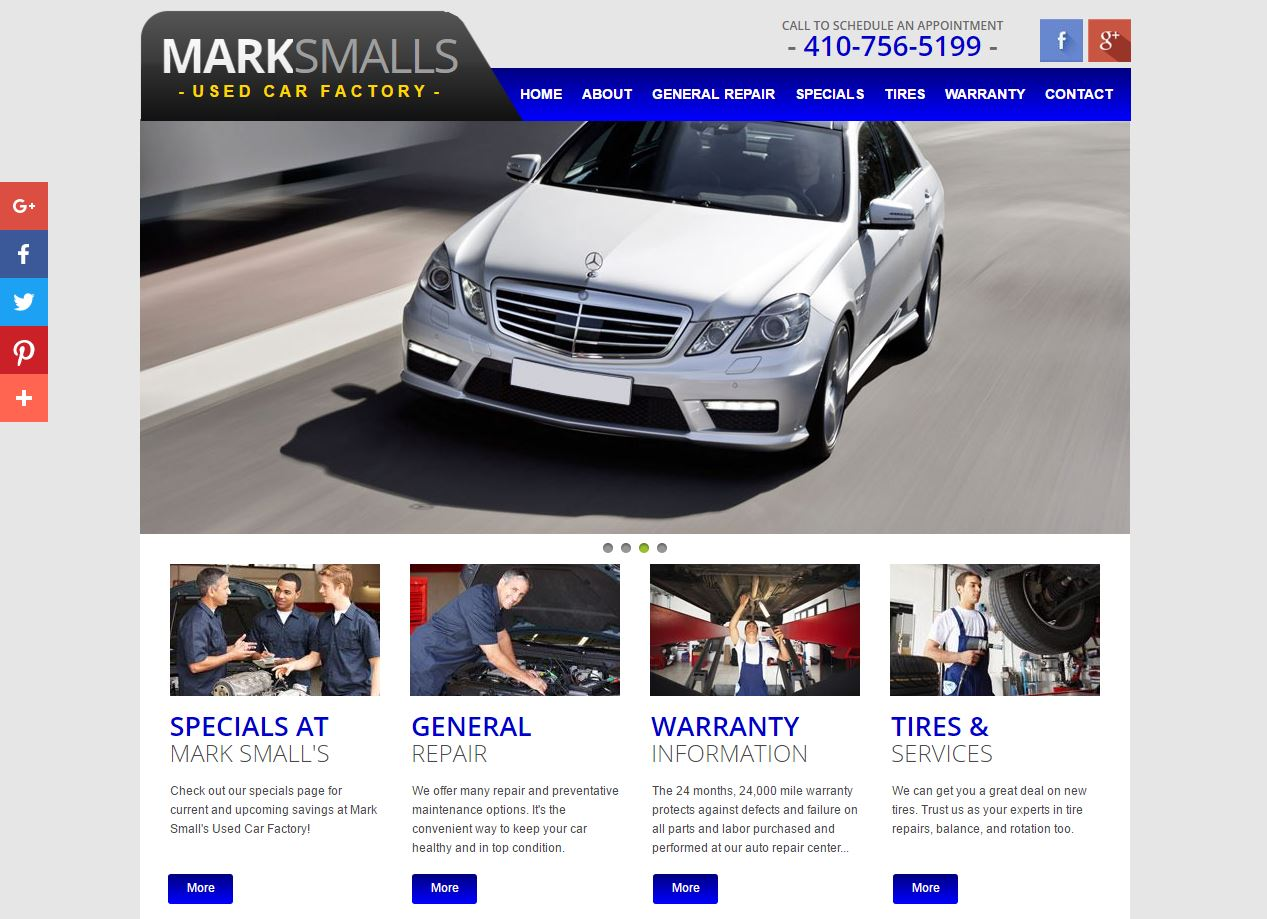 mark smalls used car facotorys website is a responsive website supported by the godaddy website builder platform through a website development day
