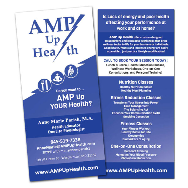 AMP Up Health Custom Designed Rack Card by Website GURL