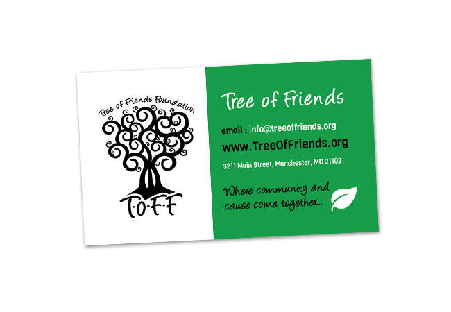 Tree of friends business card design website gurl this is a business card designed for tree of friends foundation of hampstead maryland a separate file was created for a spot gloss effect on the treelogo colourmoves