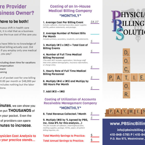 Physician Billing Solutions Custom Brochure Design by Website GURL