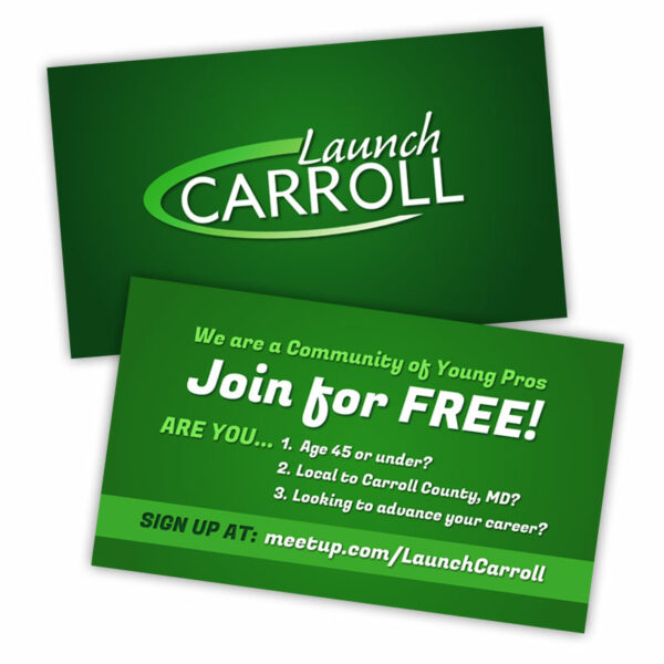 Launch Carroll Young Professionals Custom Business Card Design by Website GURL