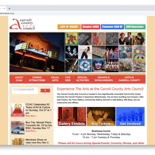 Carroll Arts Center Custom Website GURL