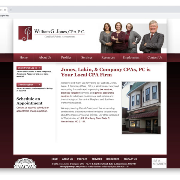 WIlliam G. Jones CPA Custom Website GURL